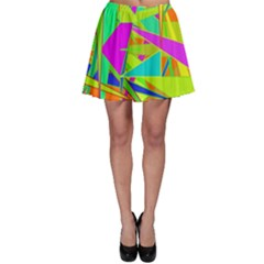 Background With Colorful Triangles Skater Skirt