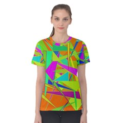 Background With Colorful Triangles Women s Cotton Tee
