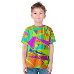 Background With Colorful Triangles Kids  Cotton Tee