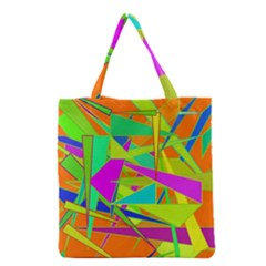 Background With Colorful Triangles Grocery Tote Bag
