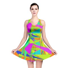 Background With Colorful Triangles Reversible Skater Dress