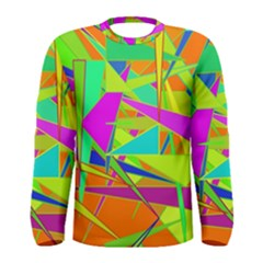 Background With Colorful Triangles Men s Long Sleeve Tee