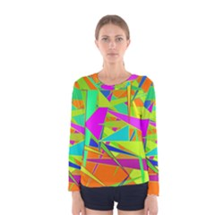Background With Colorful Triangles Women s Long Sleeve Tee