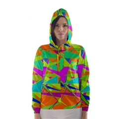 Background With Colorful Triangles Hooded Wind Breaker (women)