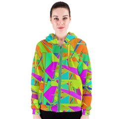 Background With Colorful Triangles Women s Zipper Hoodie