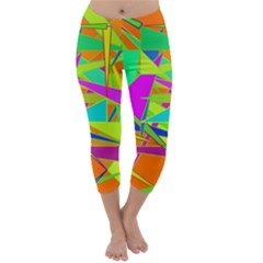 Background With Colorful Triangles Capri Winter Leggings