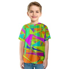 Background With Colorful Triangles Kids  Sport Mesh Tee