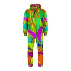 Background With Colorful Triangles Hooded Jumpsuit (kids)