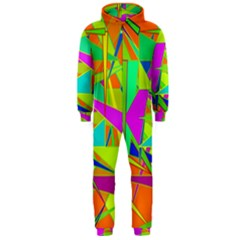 Background With Colorful Triangles Hooded Jumpsuit (Men)