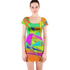 Background With Colorful Triangles Short Sleeve Bodycon Dress