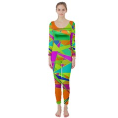 Background With Colorful Triangles Long Sleeve Catsuit