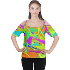 Background With Colorful Triangles Women s Cutout Shoulder Tee