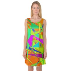 Background With Colorful Triangles Sleeveless Satin Nightdress