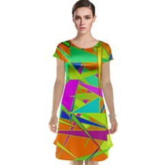 Background With Colorful Triangles Cap Sleeve Nightdress