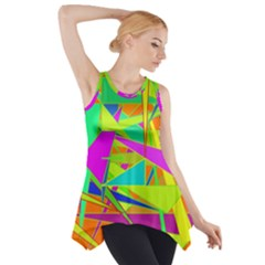 Background With Colorful Triangles Side Drop Tank Tunic