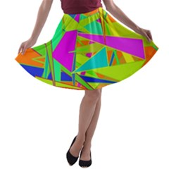 Background With Colorful Triangles A Line Skater Skirt
