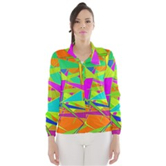Background With Colorful Triangles Wind Breaker (women)