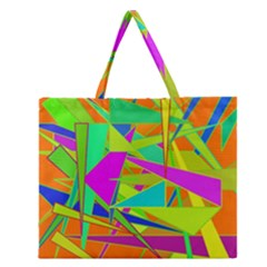 Background With Colorful Triangles Zipper Large Tote Bag