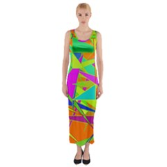 Background With Colorful Triangles Fitted Maxi Dress