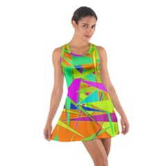Background With Colorful Triangles Cotton Racerback Dress