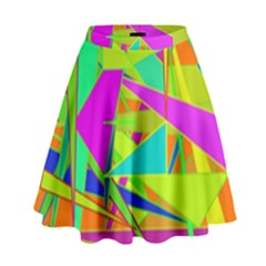 Background With Colorful Triangles High Waist Skirt