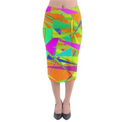 Background With Colorful Triangles Midi Pencil Skirt