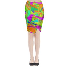 Background With Colorful Triangles Midi Wrap Pencil Skirt