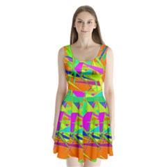 Background With Colorful Triangles Split Back Mini Dress