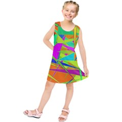 Background With Colorful Triangles Kids  Tunic Dress