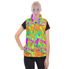 Background With Colorful Triangles Women s Button Up Puffer Vest
