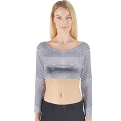 Grid Squares And Rectangles Mirror Images Colors Long Sleeve Crop Top