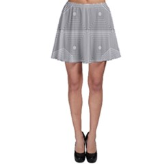 Grid Squares And Rectangles Mirror Images Colors Skater Skirt