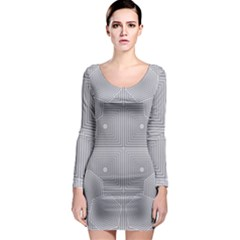 Grid Squares And Rectangles Mirror Images Colors Long Sleeve Bodycon Dress