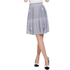 Grid Squares And Rectangles Mirror Images Colors A-Line Skirt