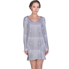 Grid Squares And Rectangles Mirror Images Colors Long Sleeve Nightdress
