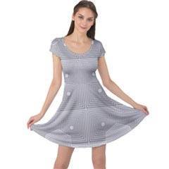 Grid Squares And Rectangles Mirror Images Colors Cap Sleeve Dresses