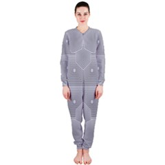 Grid Squares And Rectangles Mirror Images Colors OnePiece Jumpsuit (Ladies)