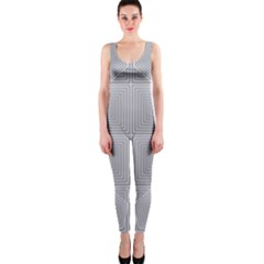 Grid Squares And Rectangles Mirror Images Colors OnePiece Catsuit