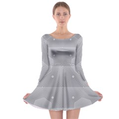 Grid Squares And Rectangles Mirror Images Colors Long Sleeve Skater Dress
