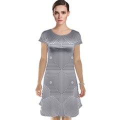 Grid Squares And Rectangles Mirror Images Colors Cap Sleeve Nightdress