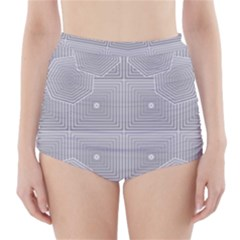 Grid Squares And Rectangles Mirror Images Colors High Waisted Bikini Bottoms