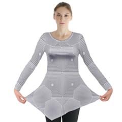 Grid Squares And Rectangles Mirror Images Colors Long Sleeve Tunic
