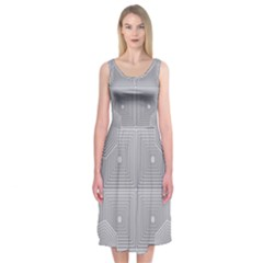 Grid Squares And Rectangles Mirror Images Colors Midi Sleeveless Dress