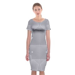 Grid Squares And Rectangles Mirror Images Colors Classic Short Sleeve Midi Dress