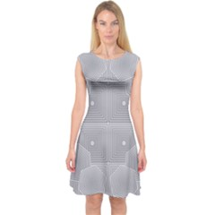 Grid Squares And Rectangles Mirror Images Colors Capsleeve Midi Dress