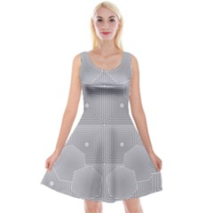 Grid Squares And Rectangles Mirror Images Colors Reversible Velvet Sleeveless Dress