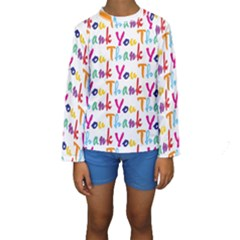 Wallpaper With The Words Thank You In Colorful Letters Kids  Long Sleeve Swimwear
