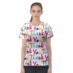 Wallpaper With The Words Thank You In Colorful Letters Women s Sport Mesh Tee