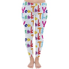 Wallpaper With The Words Thank You In Colorful Letters Classic Winter Leggings