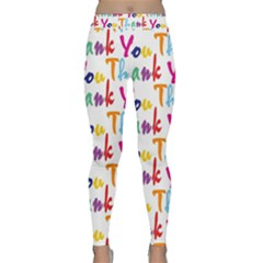 Wallpaper With The Words Thank You In Colorful Letters Classic Yoga Leggings